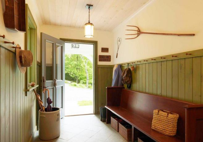 木质复古玄关卡座鞋柜设计