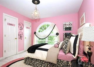 可爱粉色女孩房卧室图片