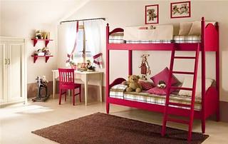 红色活力儿童房高低床图片