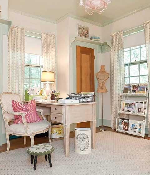 粉色系书房设计布置摆放图片大全