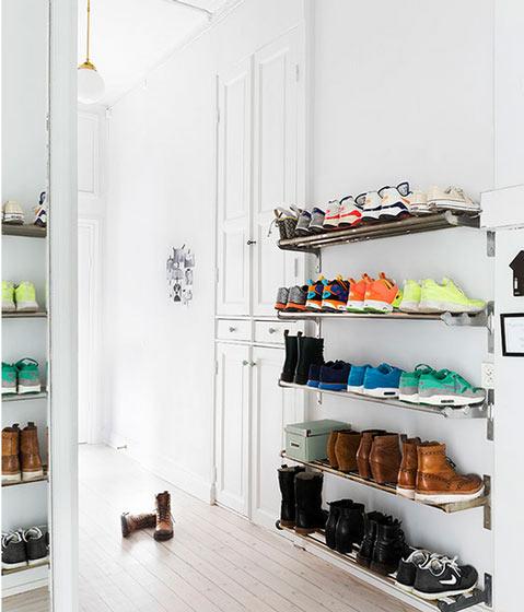 清新北欧风玄关鞋架设计图片