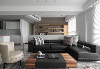 现代简约风客厅 黑色沙发效果图