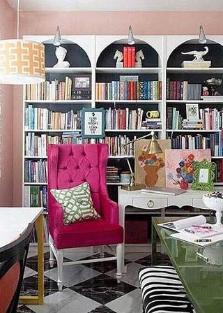 粉色系书房设计平面图