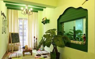 果绿色田园风儿童房 创意假窗效果图