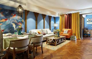 清爽东南亚风情 客餐厅背景墙效果图