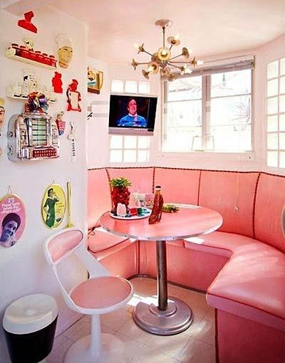 粉红色餐厅卡座布置图