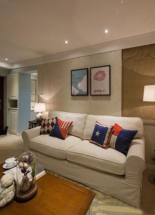 文艺美式客厅 布艺沙发效果图
