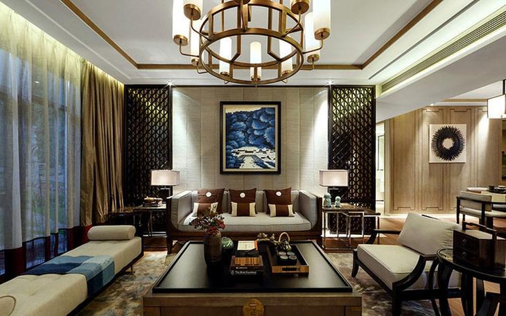 奢华新中式客厅背景墙设计