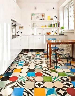 花样厨房地板砖效果图