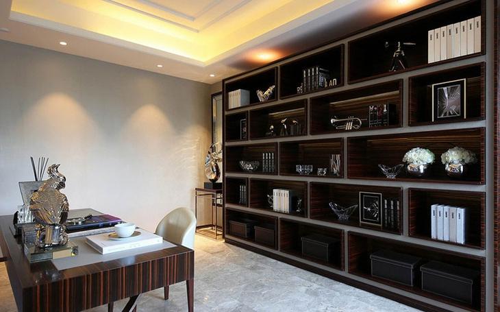 沉稳新中式书房博古架设计