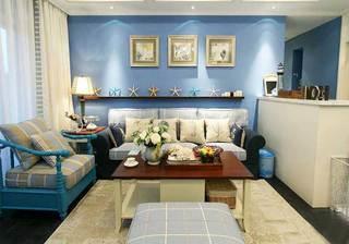 地中海风情客厅蓝色背景墙设计