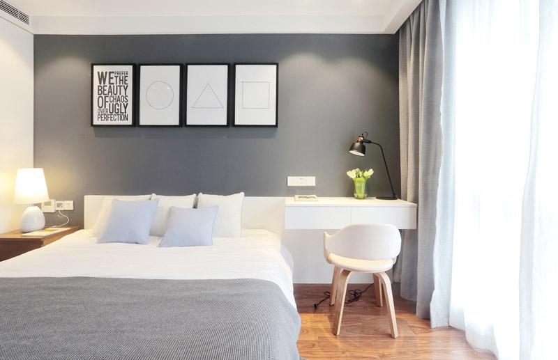 简约风卧室背景墙装饰画设计