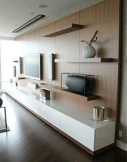 实用客厅木质电视背景墙效果图