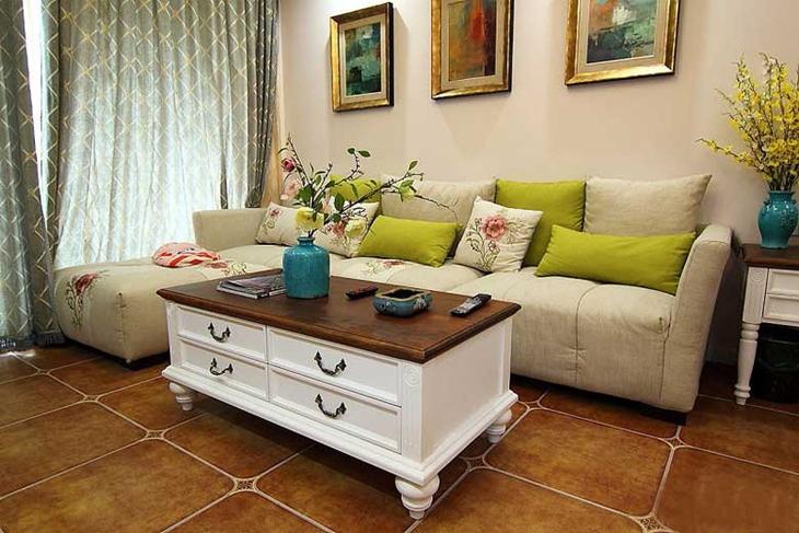 复古美式田园风 客厅布艺沙发效果图