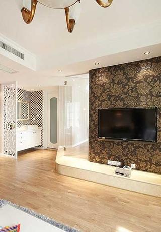 新古典风格舒适小复式电视背景墙设计图