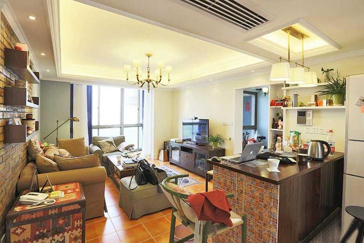 110㎡美式混搭风格装修温馨客厅