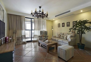 80平情调小家美式风格装修客厅效果图