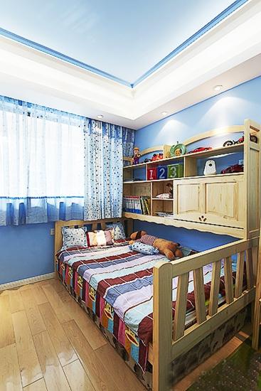 清新蓝色调美式儿童房设计