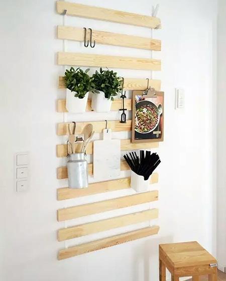 厨房木质墙面收纳架设计图