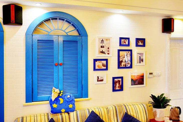 85平清新地中海风格装修照片墙设计