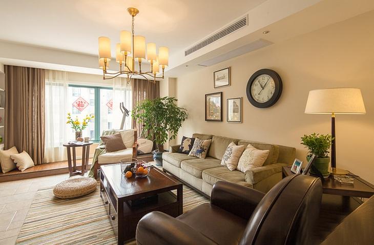 温馨暖色美式客厅装饰效果图