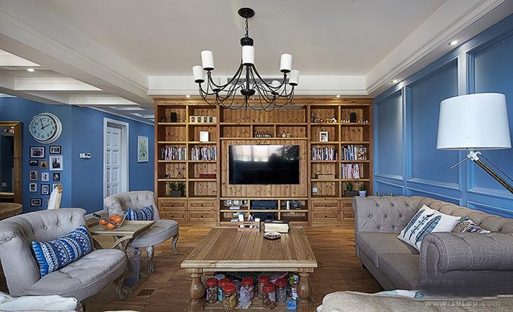 宜家风客厅 整体原木电视柜效果图