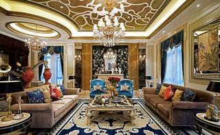 奢华新古典欧式别墅客厅装饰大全