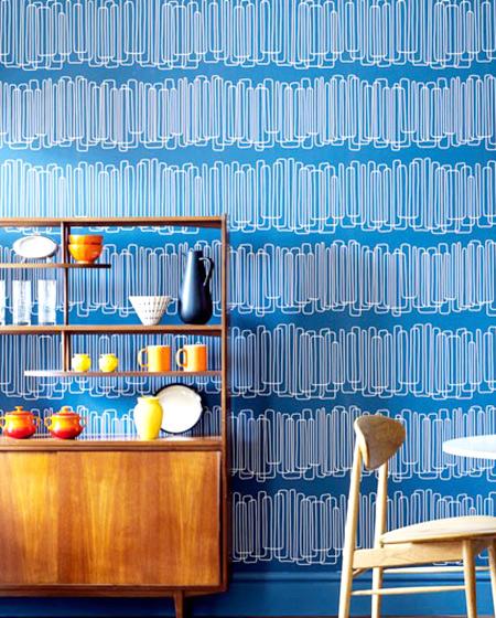 清爽蓝色餐厅壁纸装潢图