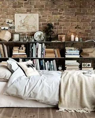 卧室书架背景墙装饰图