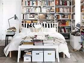 12个卧室书架背景墙装修 睡在书海里