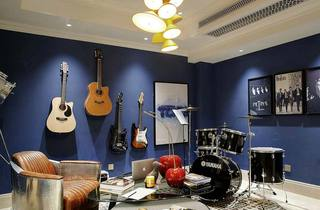 深蓝色现代简约风 公寓娱乐室效果图