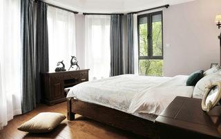 现代美式风格三居室卧室窗帘效果图