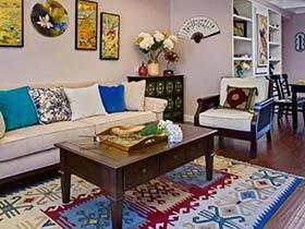 80平米两居室装修效果图   美中式混合美家