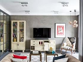 70平米混搭风格公寓装修图 迷情孔雀蓝