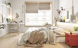 优雅裸色调北欧风卧室效果图
