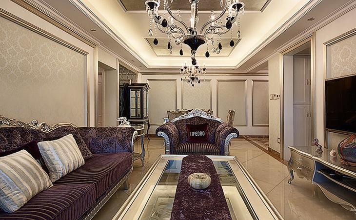 豪华欧式新古典 客餐厅吊顶设计