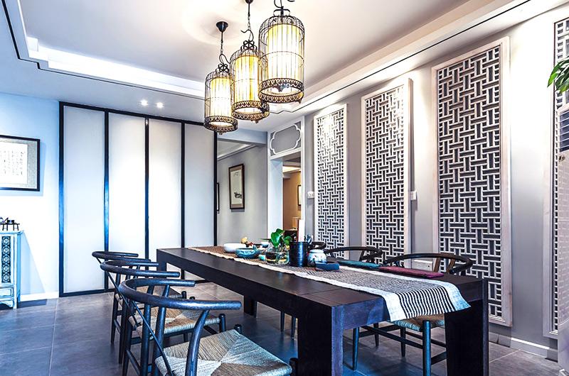 160平中式风格三居室餐厅隔断设计