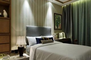 清新薄荷绿新中式卧室效果图