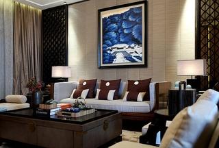 170平新中式风格装修客厅效果图