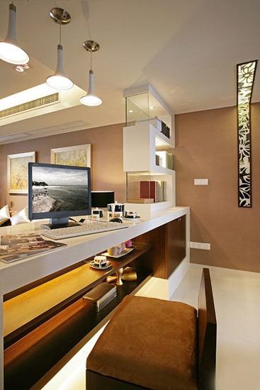 现代新中式工作区 吧台隔断设计