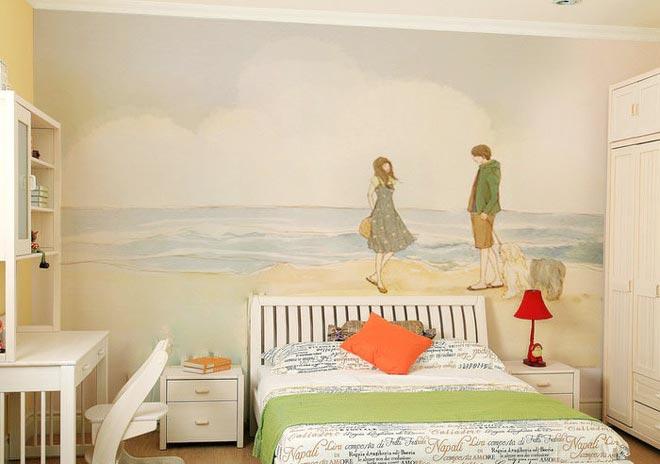 卧室床头背景壁画设计效果图-您正在访问第6页 装修效果图案例 2018