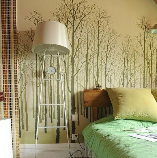 卧室床头背景墙纸图片