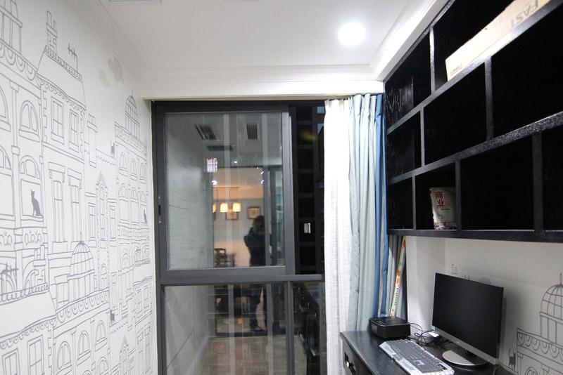 60平美式风格两室两厅书房效果图