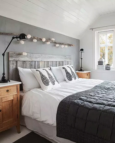 个性木质卧室床头效果图2016