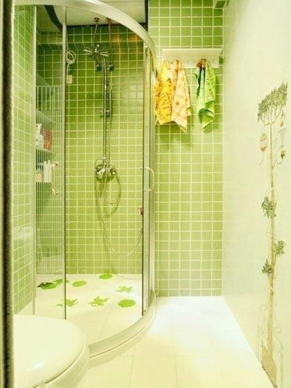绿色系小户型卫生间图片