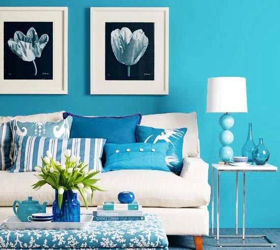 蓝色客厅布置装修图片大全