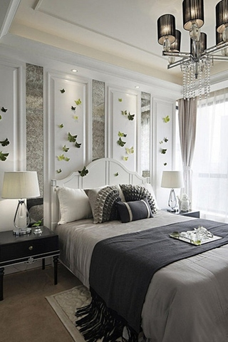 优雅简欧风格卧室背景墙设计