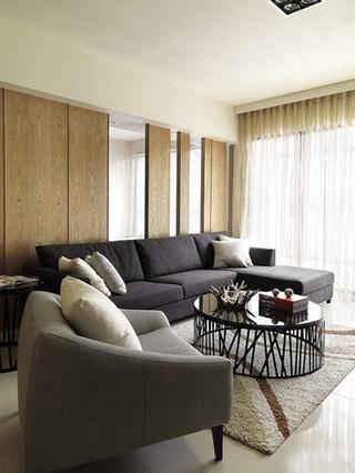 原木风格三室两厅装修客厅效果图