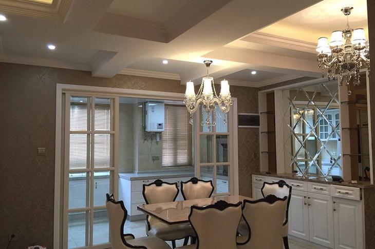 华丽欧式餐厅凹凸吊顶设计