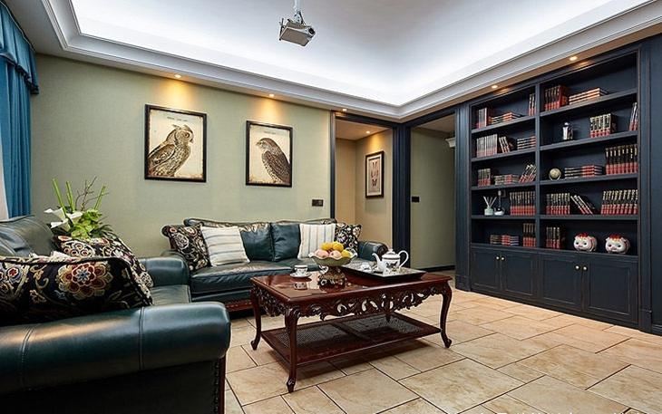 110平美式风格装修客厅设计